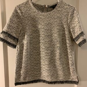 White and black tweed top from Banana Republic